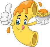 Personagem de banda desenhada do macarrão e do queijo ilustração royalty free
