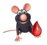 personagem de banda desenhada do rato do divertimento com gota do sangue Imagens de Stock Royalty Free