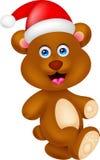 Personagem de banda desenhada do urso com Natal do chapéu Foto de Stock Royalty Free