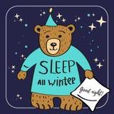 Personagem de banda desenhada do urso de Brown Dorme todo o inverno Fundo da boa noite Fotos de Stock
