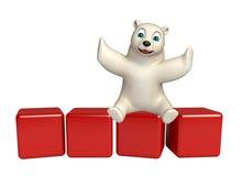 Personagem de banda desenhada do urso polar do divertimento com nível Imagem de Stock