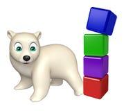 Personagem de banda desenhada do urso polar do divertimento com nível Imagem de Stock Royalty Free