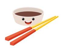 Personagem de banda desenhada do vetor do molho de soja do divertimento Sauce& bonito x27 da soja; caras de s com hashi, alimento ilustração royalty free