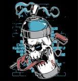 Personagem de banda desenhada dos grafittis da cara do crânio da pintura à pistola ilustração royalty free