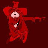 Personagem de banda desenhada engraçado do palhaço o homem no chapéu na cor vermelha Imagens de Stock Royalty Free