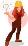 Personagem de banda desenhada esperto da ideia da menina do trabalhador O construtor do Handywoman tem uma boa ideia Fotos de Stock Royalty Free