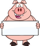 Personagem de banda desenhada feliz do porco que guarda uma bandeira Fotografia de Stock Royalty Free