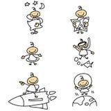 Personagem de banda desenhada Hand-drawn Imagens de Stock