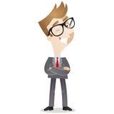 Personagem de banda desenhada: Homem de negócios seguro Imagens de Stock