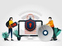 personagem de banda desenhada liso os povos protegem dispositivos de armazenamento tais como movimentações instantâneas, discos r ilustração royalty free