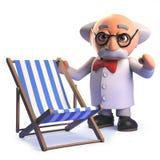 Personagem de banda desenhada louco louco do cientista na posição 3d ao lado de um deckchair do feriado