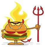 Personagem de banda desenhada mal-humorado do hamburguer do diabo que guarda Trident sobre chamas ilustração stock