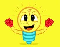 Personagem de banda desenhada muscular forte da lâmpada ilustração do vetor