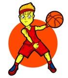 Personagem de banda desenhada novo do jogador de basquetebol ilustração stock