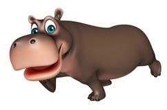 Personagem de banda desenhada running bonito do hipopótamo Foto de Stock Royalty Free
