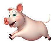 personagem de banda desenhada running do porco Imagens de Stock