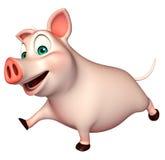 personagem de banda desenhada running do porco Fotografia de Stock