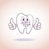 Personagem de banda desenhada saudável da mascote do dente Fotografia de Stock