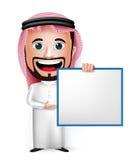 personagem de banda desenhada saudita realístico do homem 3D que guarda a placa branca vazia Imagens de Stock