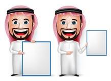 personagem de banda desenhada saudita realístico do homem 3D que guarda a placa branca vazia Fotos de Stock