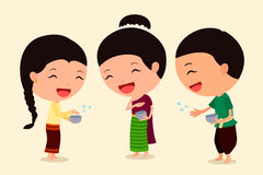 Personagem de banda desenhada Songkran 3 Fotos de Stock