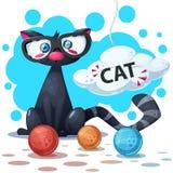 Personagens de banda desenhada bonitos, engraçados do gato Clew a confecção de malhas imagem de stock