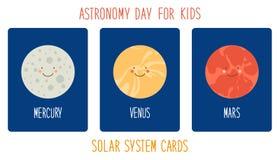 Personagens de banda desenhada de sorriso bonitos dos planetas do sistema solar Fundo criançola Foto de Stock Royalty Free