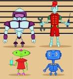 Personagens de banda desenhada do robô ajustados ilustração royalty free
