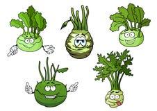 Personagens de banda desenhada dos vegetais da couve da couve-rábano ilustração royalty free