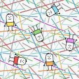 Personagens de banda desenhada em linhas gráficas e no teste padrão sem emenda das cores ilustração stock