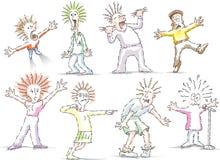 Personagens de banda desenhada forçados e frazzled ilustração do vetor