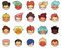 Personagens de banda desenhada Meninos com penteado diferente Fotos de Stock
