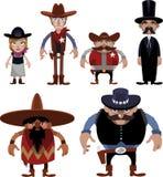 Personagens de banda desenhada ocidentais distantes Foto de Stock