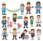 Personagens de banda desenhada para conceitos do feriado e do vetor do negócio ilustração royalty free