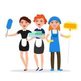 Personagens de banda desenhada de sorriso do pessoal de serviço da limpeza isolados no fundo branco Líquidos de limpeza da casa v ilustração royalty free