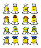 Personagens de banda desenhada - trabalhos ilustração stock