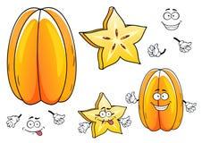Personagens de banda desenhada tropicais suculentos do fruto do carambola Fotografia de Stock Royalty Free