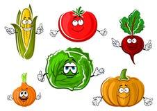 Personagens de banda desenhada vegetais outonais felizes Imagem de Stock