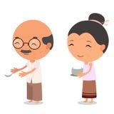 Personagens de banda desenhada vovô e avó Foto de Stock