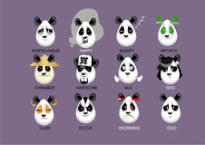 Personages pandas Stock Image