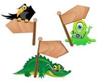 Personaggi dei cartoni animati con gli indicatori di legno royalty illustrazione gratis