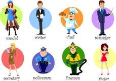 Personaggi dei cartoni animati - cuoco unico, poliziotto, vigile del fuoco, cameriere Fotografie Stock Libere da Diritti
