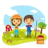 Personaggi dei cartoni animati degli agricoltori Fotografia Stock