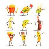 Personaggi dei cartoni animati degli alimenti a rapida preparazione messi Fotografie Stock Libere da Diritti