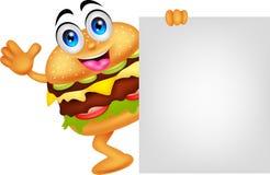 Personaggi dei cartoni animati dell'hamburger con il segno in bianco Fotografia Stock