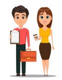 Personaggi dei cartoni animati dell'uomo di affari e della donna di affari Giovani sorridenti in abbigliamento casual astuto Immagini Stock