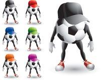 Personaggi dei cartoni animati della sfera di calcio con i cappelli illustrazione di stock