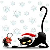 Personaggi dei cartoni animati di divertimento di Natale del topo e del gatto illustrazione di stock
