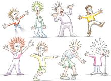 Personaggi dei cartoni animati sollecitati e logorati illustrazione vettoriale