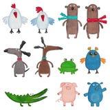 Personaggi dei cartoni animati sopra bianco Fotografie Stock
